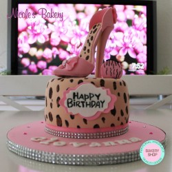 Leopard Print Cake with Sugar High Heel Shoe