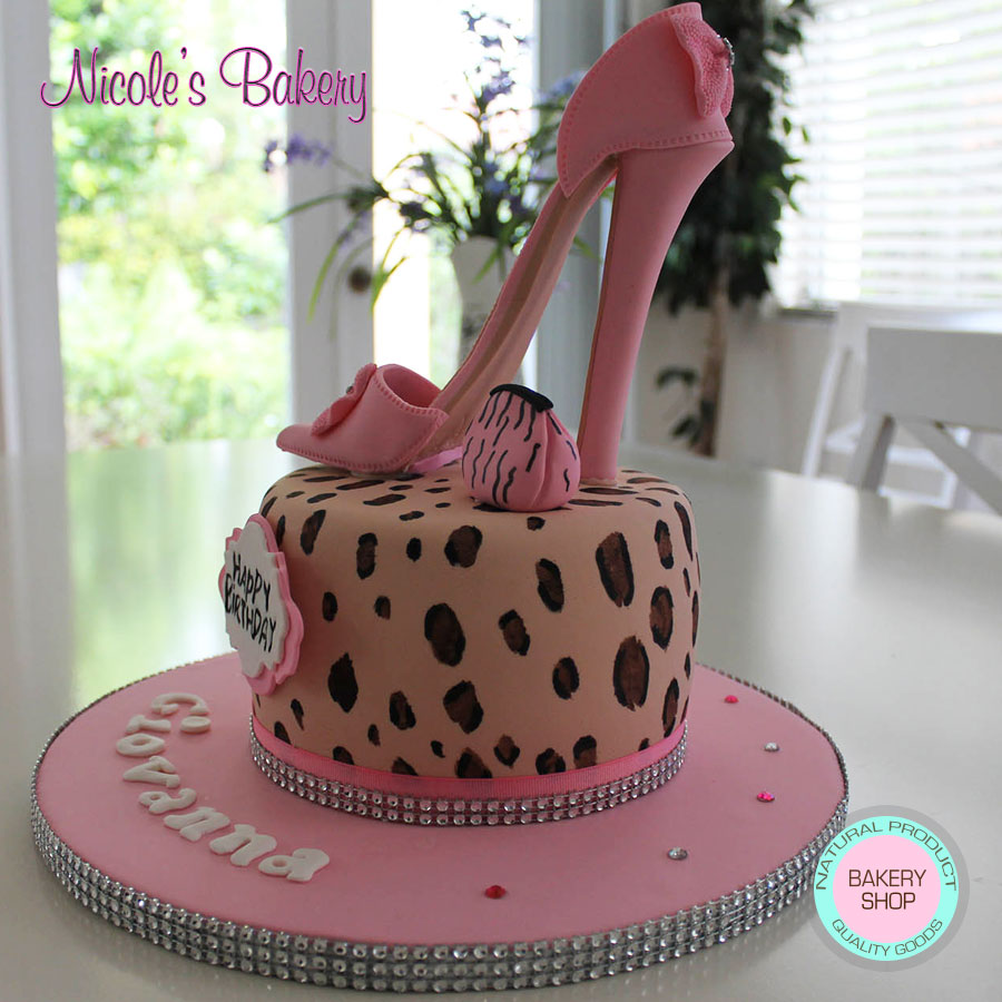 Tremendous Leopard Print Cake With Sugar High Heel Shoe Birthday Cards Printable Opercafe Filternl
