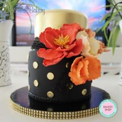 Tiered Cake with handmade peonies