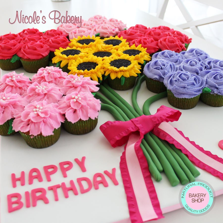 Wondrous Pull Apart Cupcake Cake Flowers Arrangement Personalised Birthday Cards Beptaeletsinfo